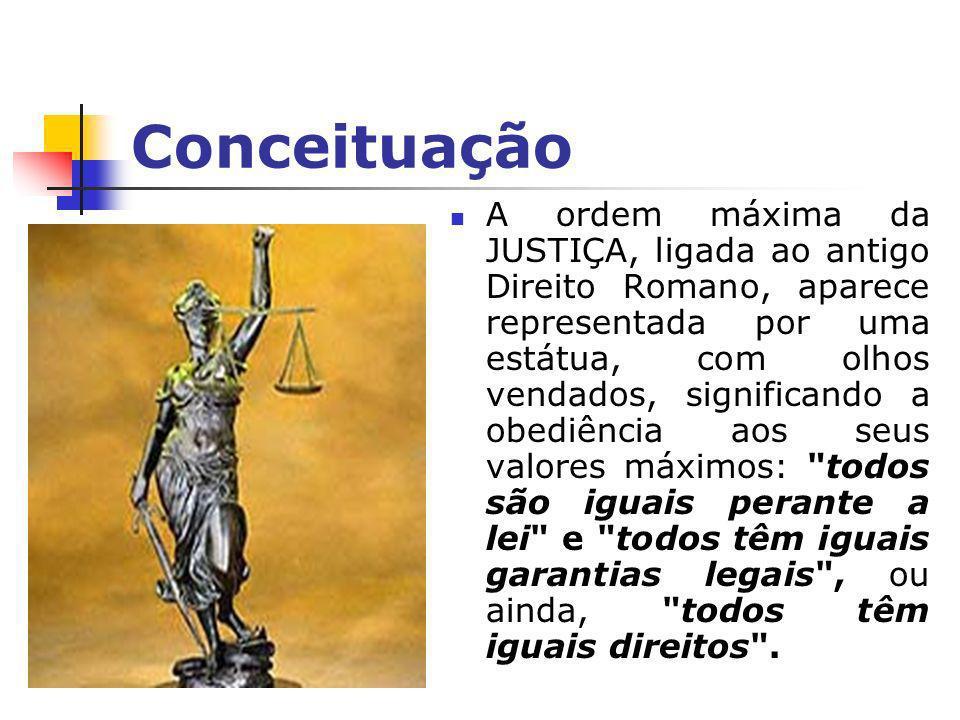 Conceituação A justiça implica, também, emalteridade= tudo aquilo que se relaciona ao outro ou seja, a justiça sempre se refere a um parâmetro ou a comparação entre dois seres / conceitos.