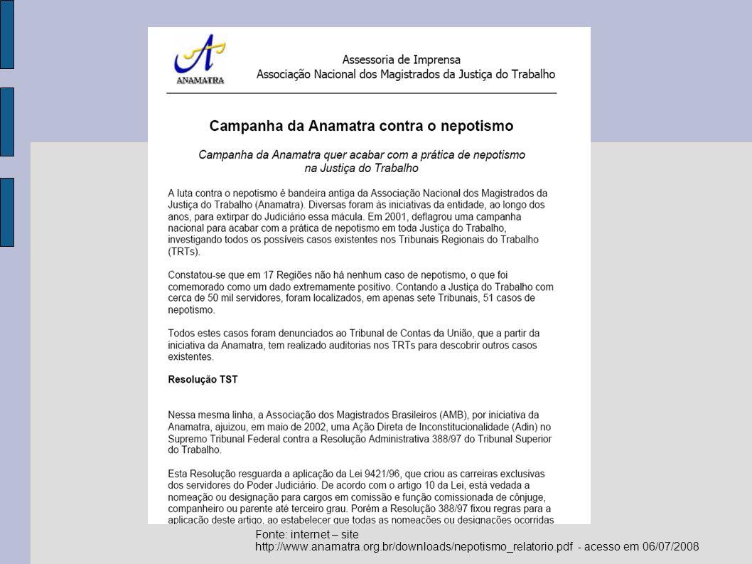 Fonte: internet – site http://www.amb.com.br/portal/index.asp?secao=mostranoticia&mat_id=3312 - acesso em 06/07/2008