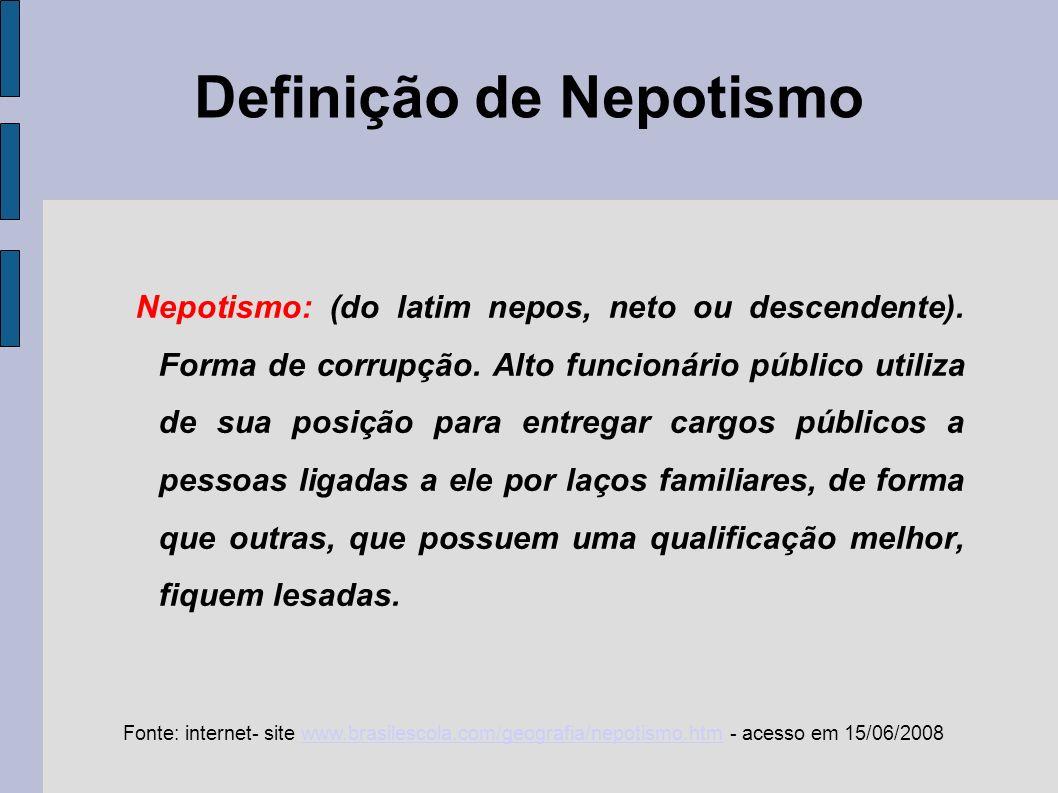 Origem do Nepotismo Expressar as relações de concessão de privilégios entre o Papa e seus parentes.