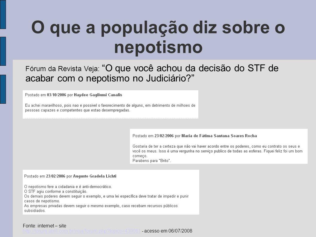 O futuro do nepotismo no Brasil Fonte: internet – site http://www.achanoticias.com.br/noticia.kmf?noticia=4279893 - acesso em 06/07/2008