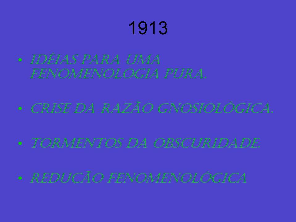 1913 Idéias para uma fenomenologia pura. Crise da razão gnosiológica. Tormentos da obscuridade. Redução fenomenológica