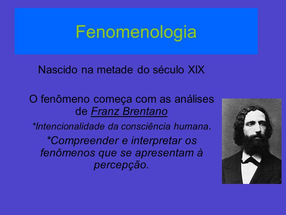 Fenomenologia Nascido na metade do século XlX O fenômeno começa com as análises de Franz Brentano *Intencionalidade da consciência humana. *Compreende