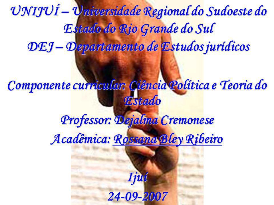 UNIJUÍ – Universidade Regional do Sudoeste do Estado do Rio Grande do Sul DEJ – Departamento de Estudos jurídicos Componente curricular: Ciência Polít