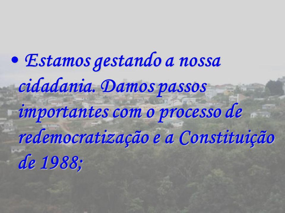 Estamos gestando a nossa cidadania. Damos passos importantes com o processo de redemocratização e a Constituição de 1988; Estamos gestando a nossa cid