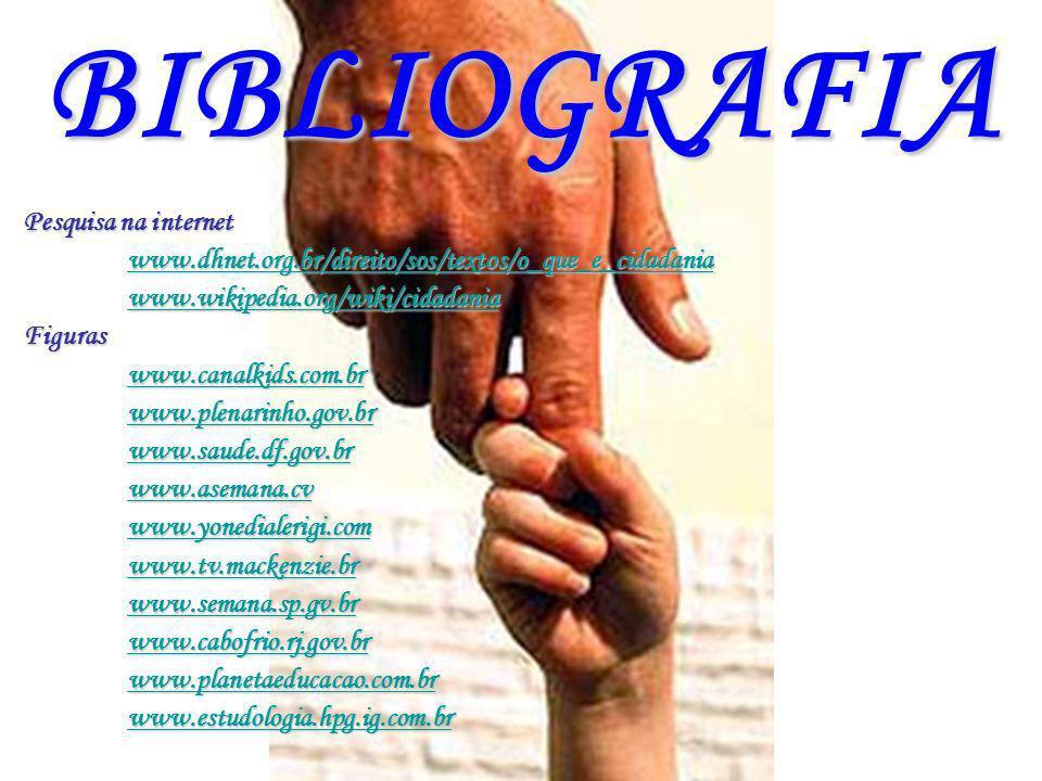 BIBLIOGRAFIA Pesquisa na internet www.dhnet.org.br/direito/sos/textos/o_que_e_cidadania www.wikipedia.org/wiki/cidadania Figuras www.canalkids.com.br