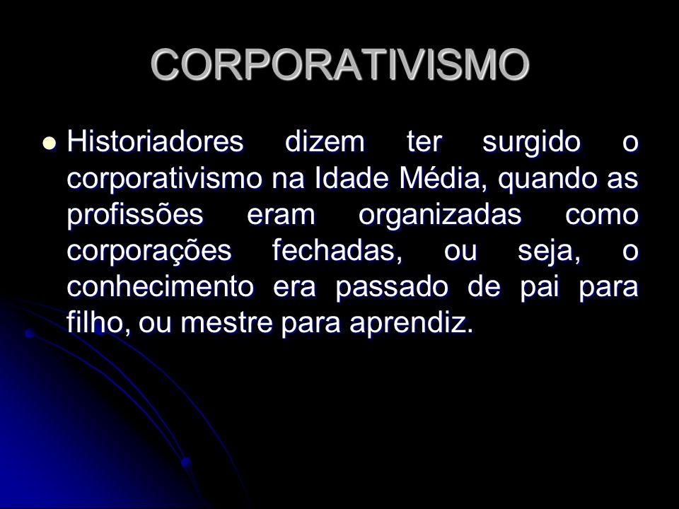CORPORATIVISMO Historiadores dizem ter surgido o corporativismo na Idade Média, quando as profissões eram organizadas como corporações fechadas, ou se