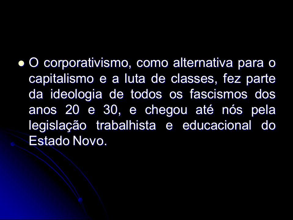 O corporativismo, como alternativa para o capitalismo e a luta de classes, fez parte da ideologia de todos os fascismos dos anos 20 e 30, e chegou até