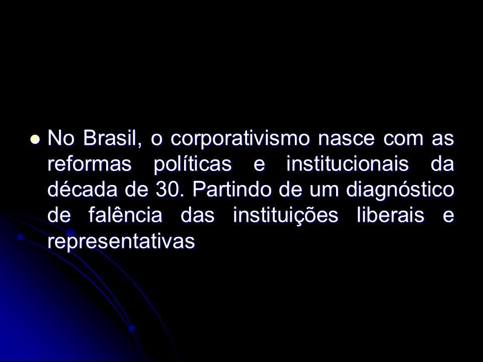 No Brasil, o corporativismo nasce com as reformas políticas e institucionais da década de 30. Partindo de um diagnóstico de falência das instituições