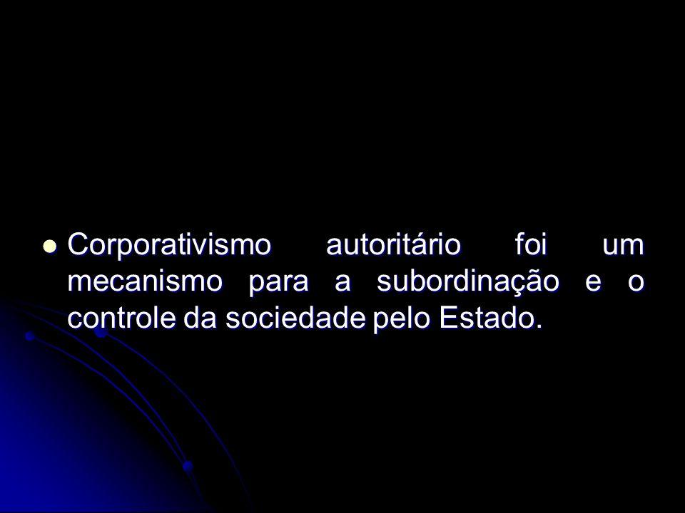 Corporativismo autoritário foi um mecanismo para a subordinação e o controle da sociedade pelo Estado. Corporativismo autoritário foi um mecanismo par