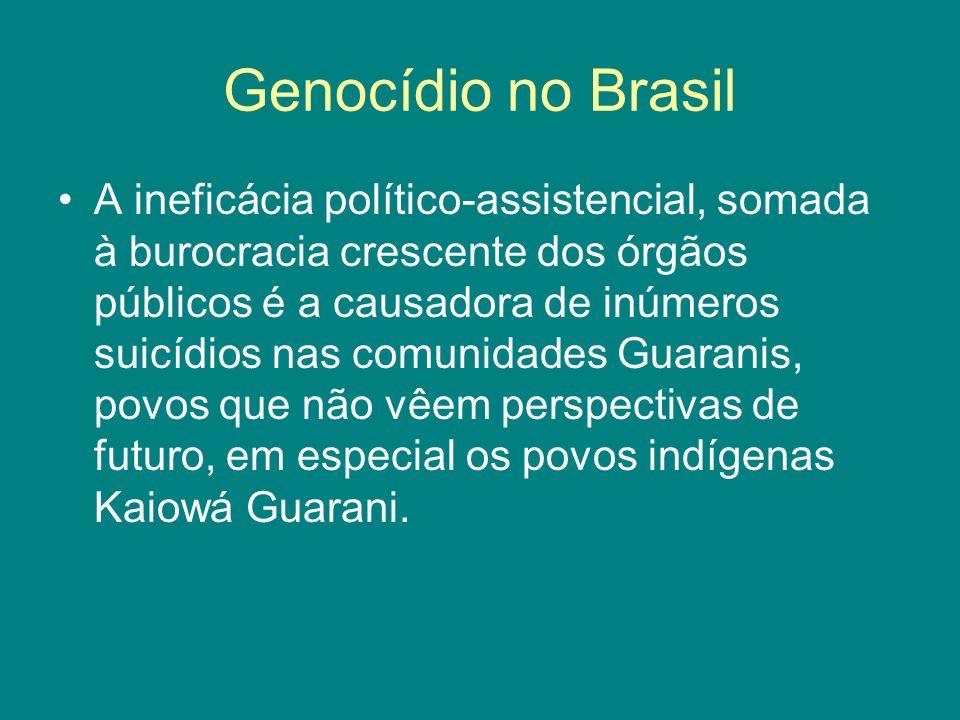 Genocídio no Brasil A ineficácia político-assistencial, somada à burocracia crescente dos órgãos públicos é a causadora de inúmeros suicídios nas comu