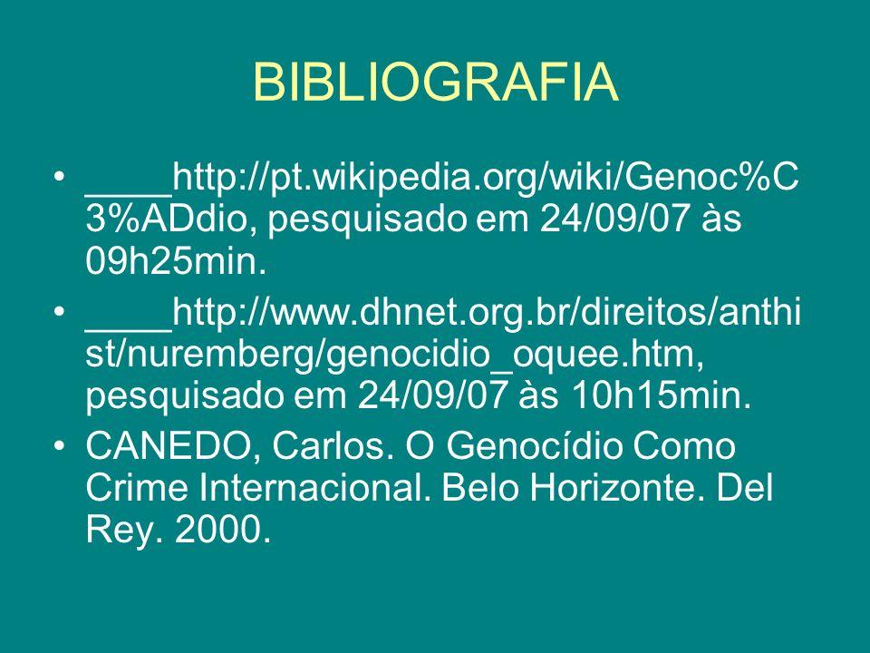 BIBLIOGRAFIA ____http://pt.wikipedia.org/wiki/Genoc%C 3%ADdio, pesquisado em 24/09/07 às 09h25min. ____http://www.dhnet.org.br/direitos/anthi st/nurem