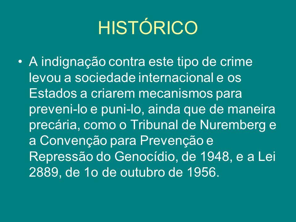 HISTÓRICO A indignação contra este tipo de crime levou a sociedade internacional e os Estados a criarem mecanismos para preveni-lo e puni-lo, ainda qu
