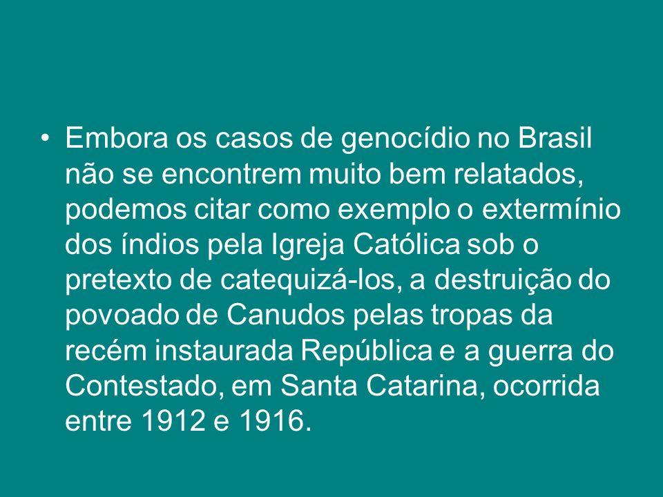 Embora os casos de genocídio no Brasil não se encontrem muito bem relatados, podemos citar como exemplo o extermínio dos índios pela Igreja Católica s