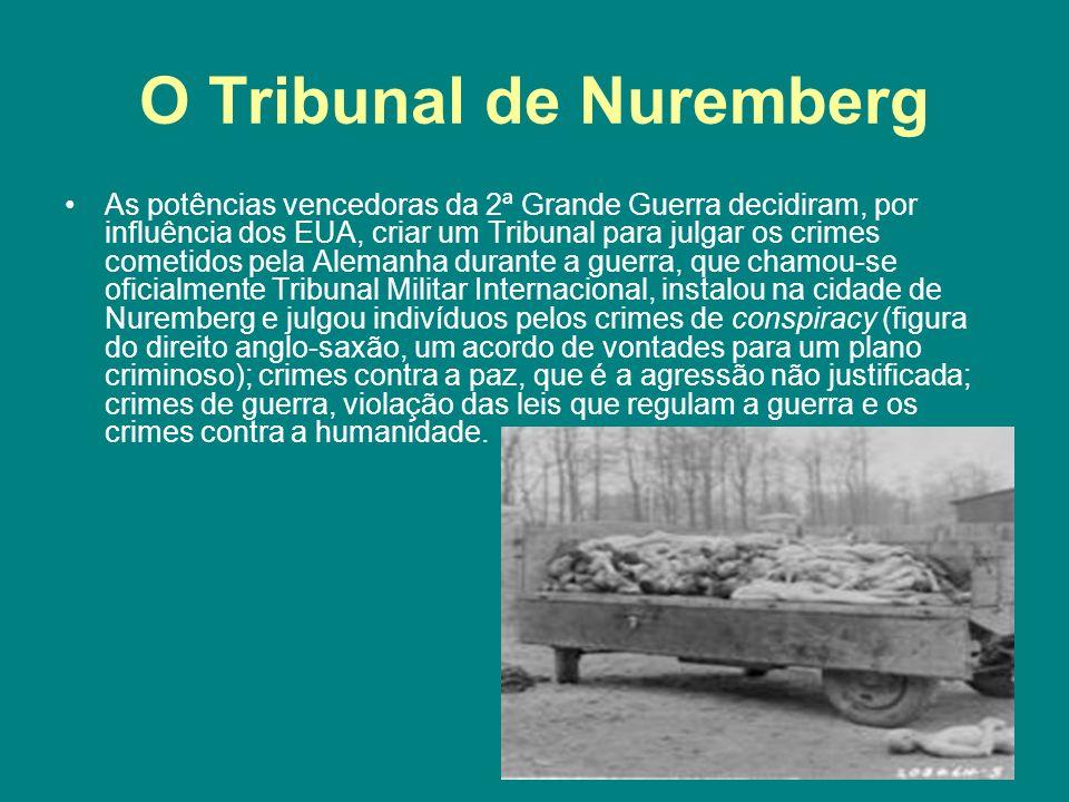 O Tribunal de Nuremberg As potências vencedoras da 2ª Grande Guerra decidiram, por influência dos EUA, criar um Tribunal para julgar os crimes cometid