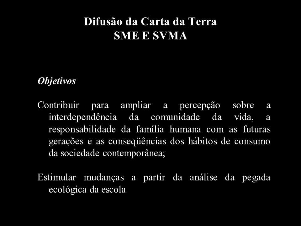 Difusão da Carta da Terra SME E SVMA Objetivos Contribuir para ampliar a percepção sobre a interdependência da comunidade da vida, a responsabilidade