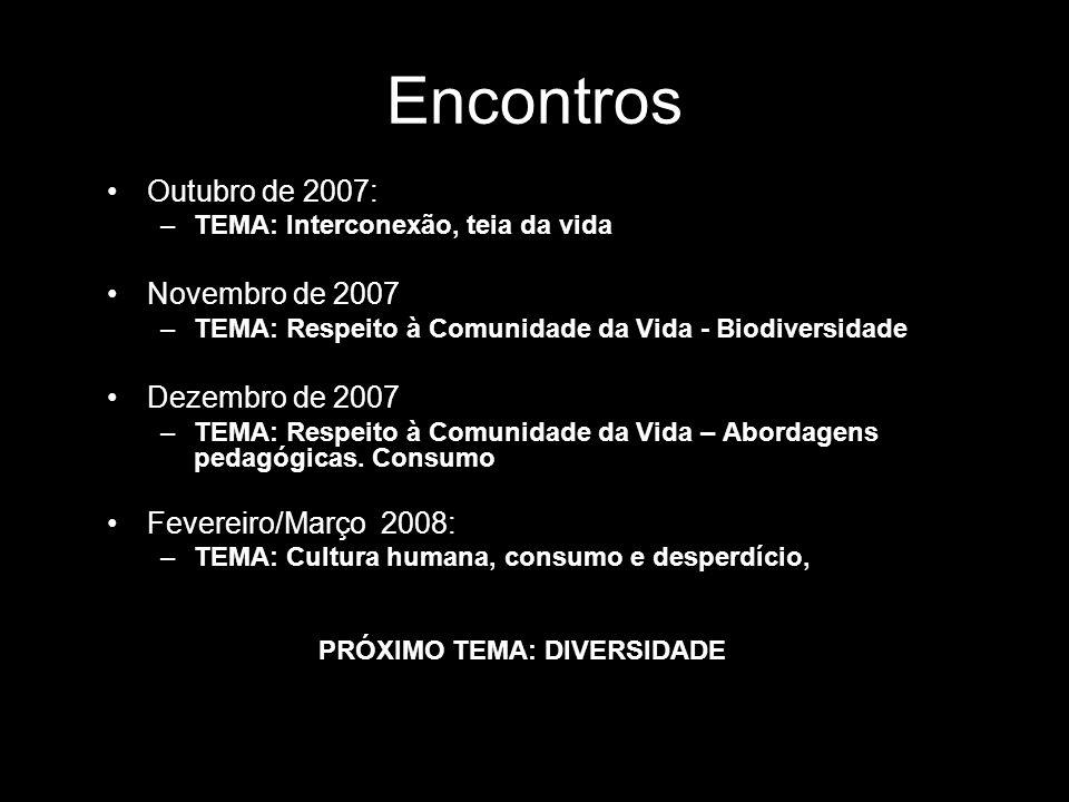 Encontros Outubro de 2007: –TEMA: Interconexão, teia da vida Novembro de 2007 –TEMA: Respeito à Comunidade da Vida - Biodiversidade Dezembro de 2007 –