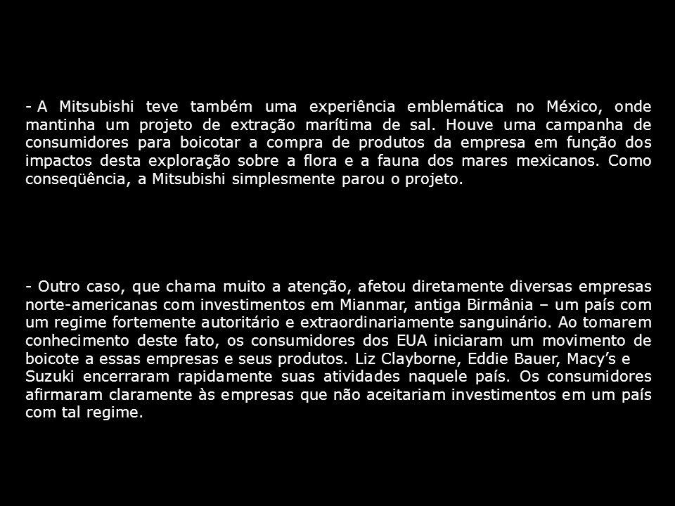 - A Mitsubishi teve também uma experiência emblemática no México, onde mantinha um projeto de extração marítima de sal. Houve uma campanha de consumid