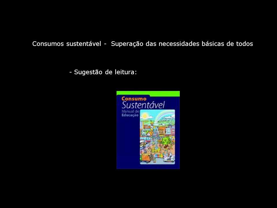 Consumos sustentável - Superação das necessidades básicas de todos - Sugestão de leitura: