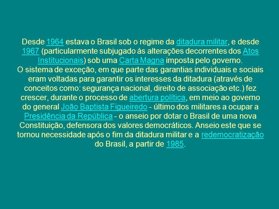 Desde 1964 estava o Brasil sob o regime da ditadura militar, e desde 1967 (particularmente subjugado às alterações decorrentes dos Atos Institucionais) sob uma Carta Magna imposta pelo governo.