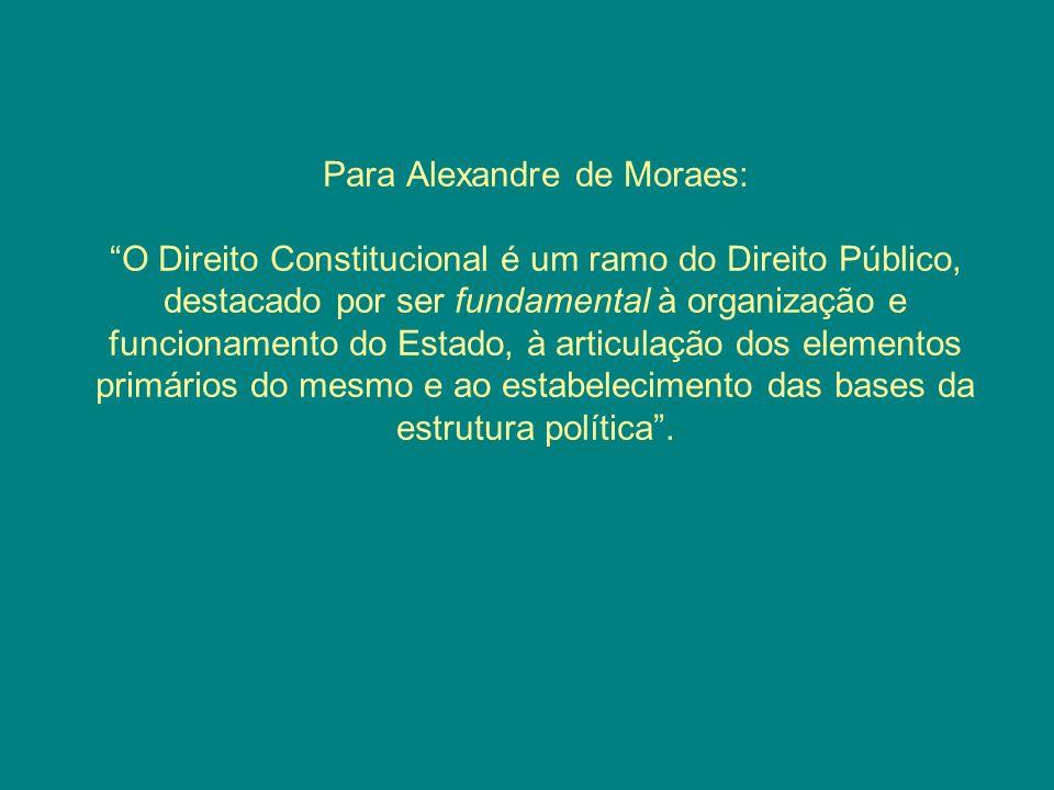Para Alexandre de Moraes: O Direito Constitucional é um ramo do Direito Público, destacado por ser fundamental à organização e funcionamento do Estado, à articulação dos elementos primários do mesmo e ao estabelecimento das bases da estrutura política.