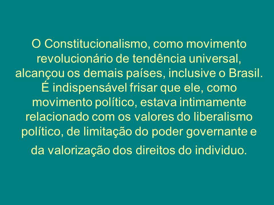 O Constitucionalismo, como movimento revolucionário de tendência universal, alcançou os demais países, inclusive o Brasil.