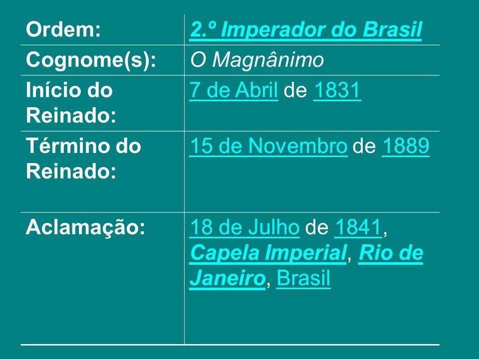 Ordem:2.º Imperador do Brasil Cognome(s):O Magnânimo Início do Reinado: 7 de Abril7 de Abril de 18311831 Término do Reinado: 15 de Novembro15 de Novem