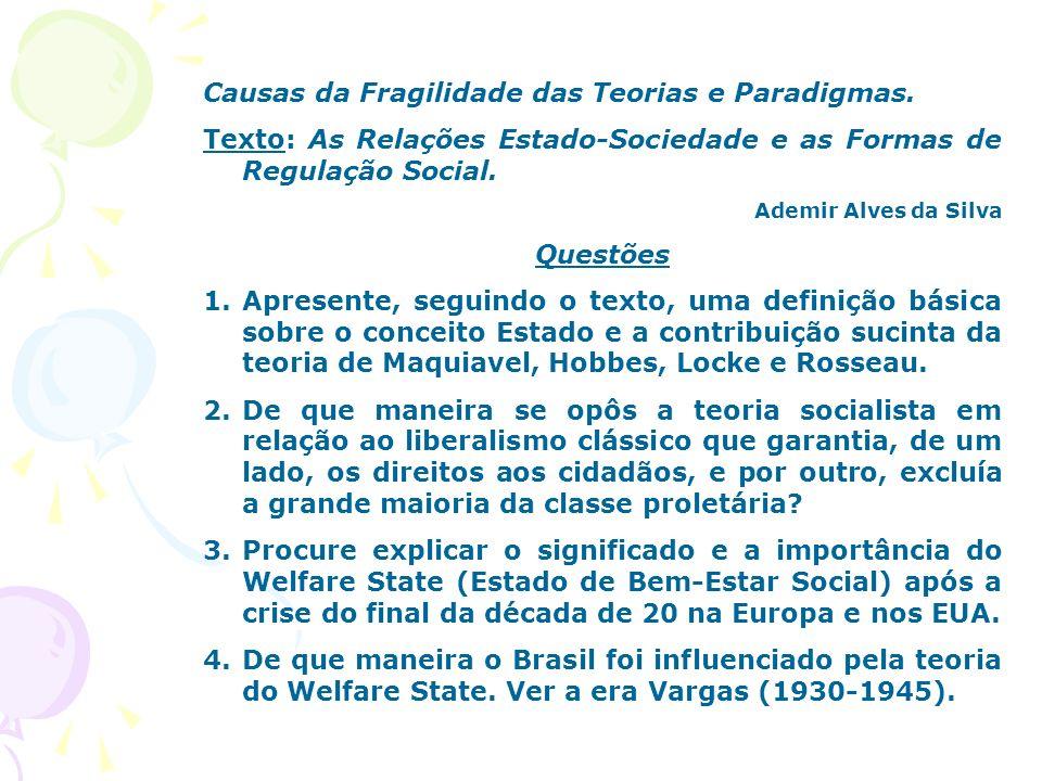 Causas da Fragilidade das Teorias e Paradigmas. Texto: As Relações Estado-Sociedade e as Formas de Regulação Social. Ademir Alves da Silva Questões 1.