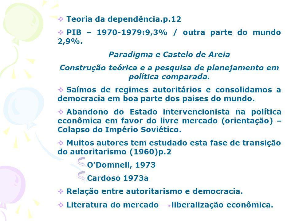 Teoria da dependência.p.12 PIB – 1970-1979:9,3% / outra parte do mundo 2,9%. Paradigma e Castelo de Areia Construção teórica e a pesquisa de planejame