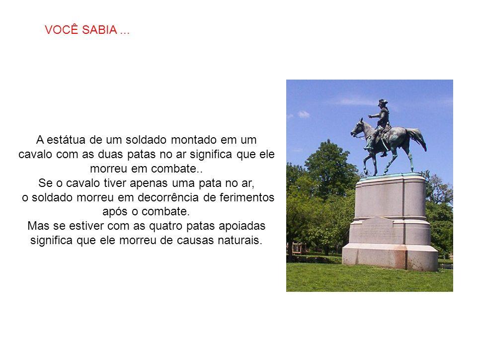 SABIAS QUE… A estátua de um soldado montado em um cavalo com as duas patas no ar significa que ele morreu em combate.. Se o cavalo tiver apenas uma pa