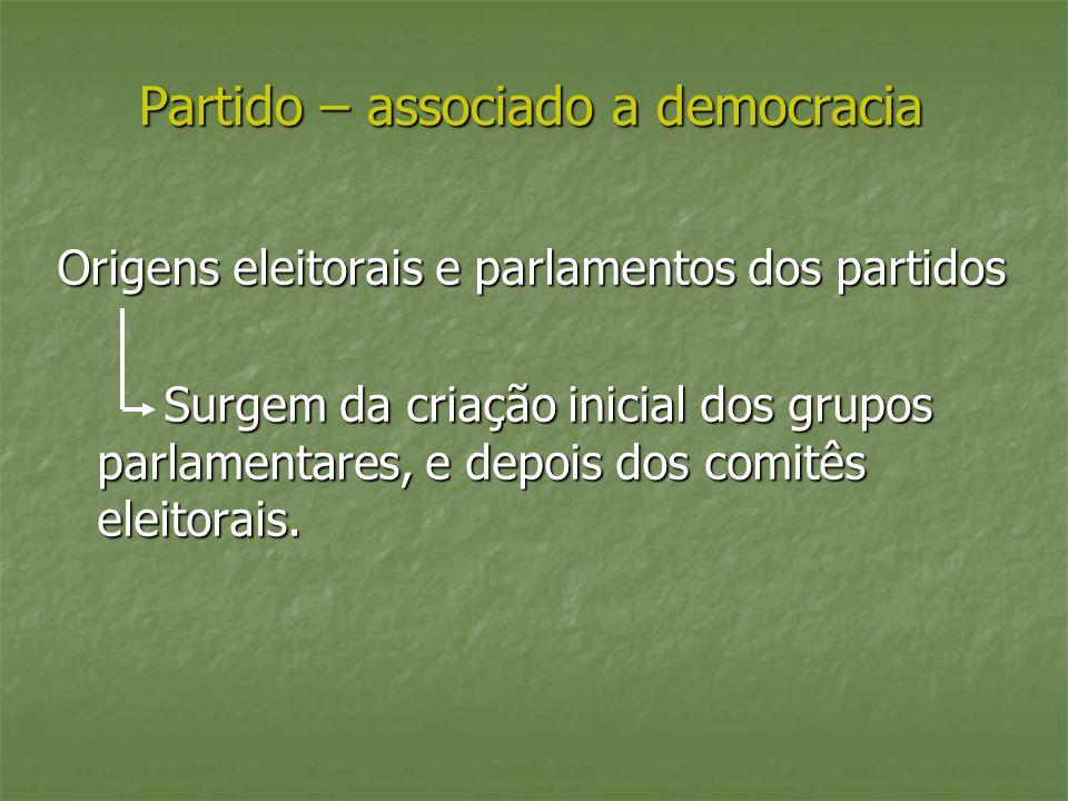 Partido – associado a democracia Origens eleitorais e parlamentos dos partidos Surgem da criação inicial dos grupos parlamentares, e depois dos comitês eleitorais.