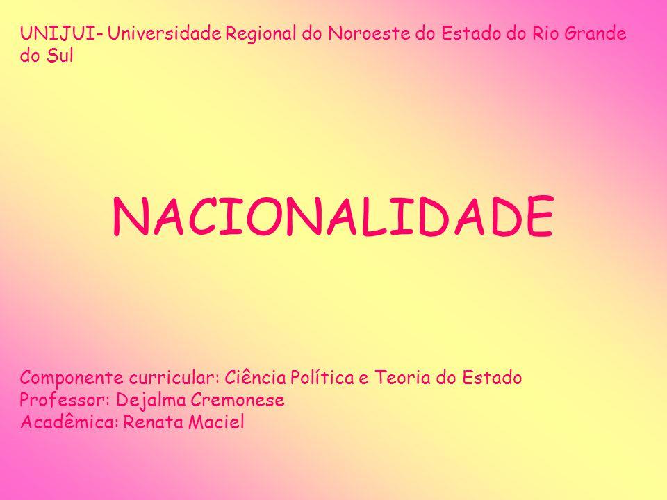 UNIJUI- Universidade Regional do Noroeste do Estado do Rio Grande do Sul NACIONALIDADE Componente curricular: Ciência Política e Teoria do Estado Prof