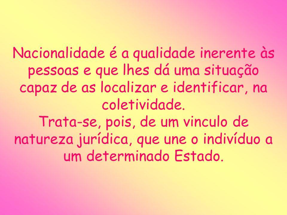 Bibliografia: http://pt.wikipedia.org/wiki/Nacionalidade Pesquisado em: 11/09/07 às 21:15 Bueno, Francisco da Silveira - Minidicionário da língua portuguesa; FDT; São Paulo; 1996