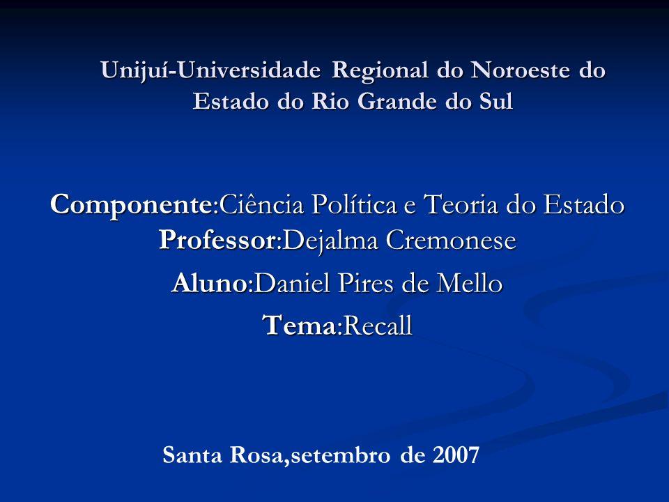 Unijuí-Universidade Regional do Noroeste do Estado do Rio Grande do Sul Componente:Ciência Política e Teoria do Estado Professor:Dejalma Cremonese Aluno:Daniel Pires de Mello Tema:Recall Santa Rosa,setembro de 2007