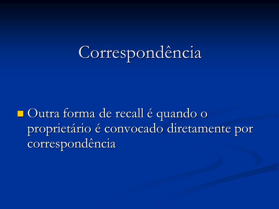 Correspondência Outra forma de recall é quando o proprietário é convocado diretamente por correspondência Outra forma de recall é quando o proprietári