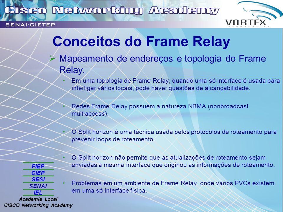 FIEP CIEP SESI SENAI IEL Academia Local CISCO Networking Academy Conceitos do Frame Relay Mapeamento de endereços e topologia do Frame Relay. Em uma t
