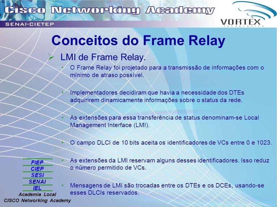 FIEP CIEP SESI SENAI IEL Academia Local CISCO Networking Academy Conceitos do Frame Relay LMI de Frame Relay. O Frame Relay foi projetado para a trans