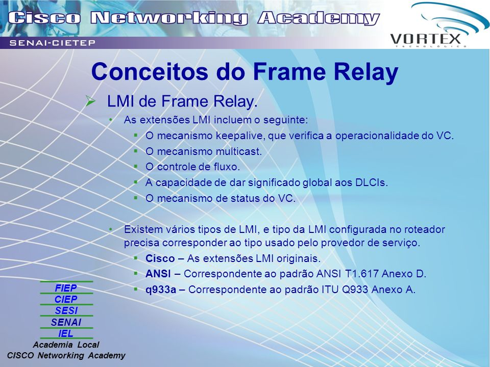 FIEP CIEP SESI SENAI IEL Academia Local CISCO Networking Academy Conceitos do Frame Relay LMI de Frame Relay. As extensões LMI incluem o seguinte: O m