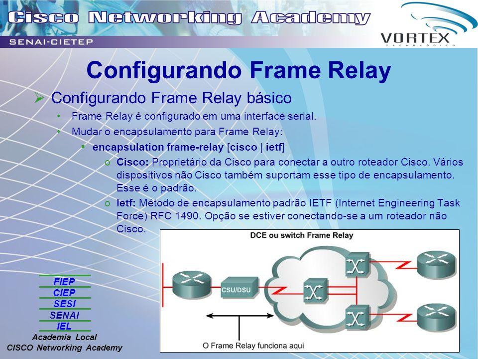 FIEP CIEP SESI SENAI IEL Academia Local CISCO Networking Academy Configurando Frame Relay Configurando Frame Relay básico Frame Relay é configurado em uma interface serial.