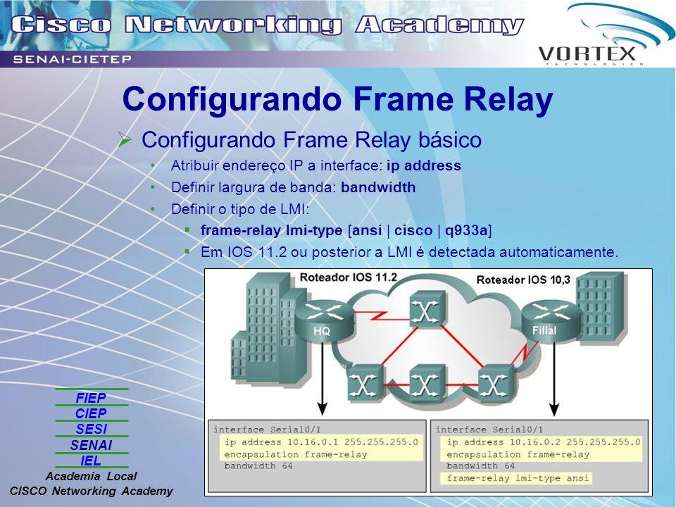 FIEP CIEP SESI SENAI IEL Academia Local CISCO Networking Academy Configurando Frame Relay Configurando Frame Relay básico Atribuir endereço IP a interface: ip address Definir largura de banda: bandwidth Definir o tipo de LMI: frame-relay lmi-type [ansi | cisco | q933a] Em IOS 11.2 ou posterior a LMI é detectada automaticamente.