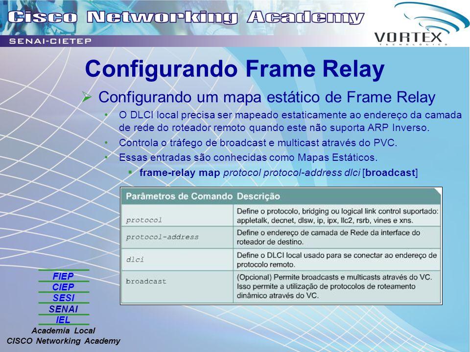 FIEP CIEP SESI SENAI IEL Academia Local CISCO Networking Academy Configurando Frame Relay Configurando um mapa estático de Frame Relay O DLCI local precisa ser mapeado estaticamente ao endereço da camada de rede do roteador remoto quando este não suporta ARP Inverso.