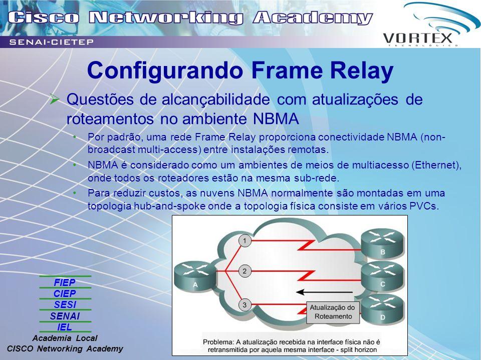 FIEP CIEP SESI SENAI IEL Academia Local CISCO Networking Academy Configurando Frame Relay Questões de alcançabilidade com atualizações de roteamentos no ambiente NBMA Por padrão, uma rede Frame Relay proporciona conectividade NBMA (non- broadcast multi-access) entre instalações remotas.