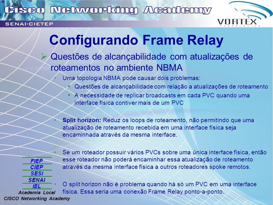 FIEP CIEP SESI SENAI IEL Academia Local CISCO Networking Academy Configurando Frame Relay Questões de alcançabilidade com atualizações de roteamentos no ambiente NBMA Uma topologia NBMA pode causar dois problemas: Questões de alcançabilidade com relação a atualizações de roteamento A necessidade de replicar broadcasts em cada PVC quando uma interface física contiver mais de um PVC Split horizon: Reduz os loops de roteamento, não permitindo que uma atualização de roteamento recebida em uma interface física seja encaminhada através da mesma interface.