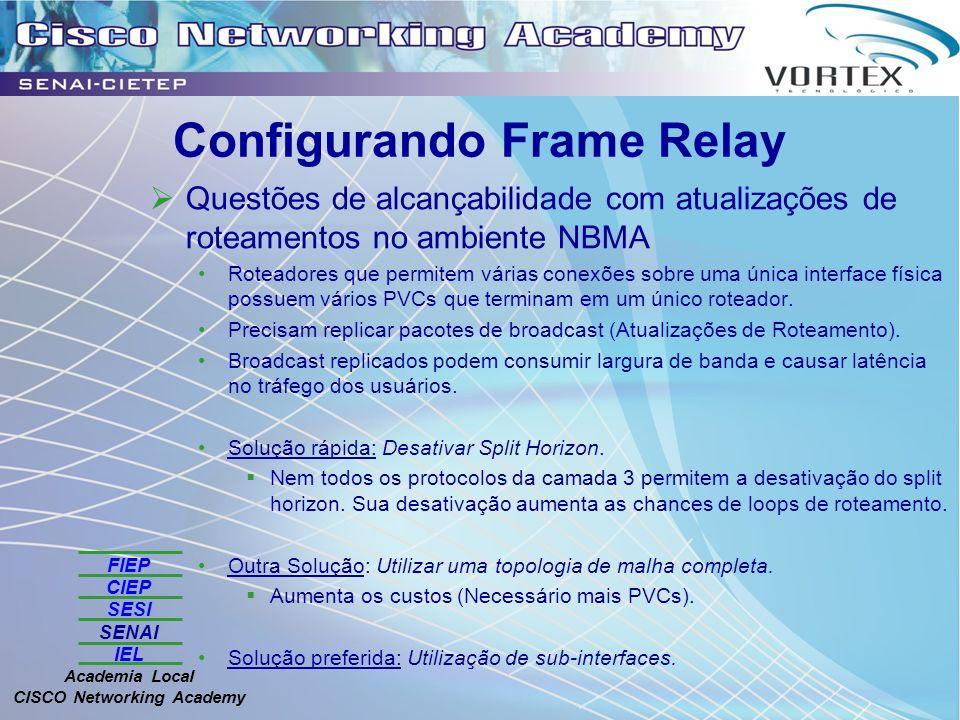 FIEP CIEP SESI SENAI IEL Academia Local CISCO Networking Academy Configurando Frame Relay Questões de alcançabilidade com atualizações de roteamentos no ambiente NBMA Roteadores que permitem várias conexões sobre uma única interface física possuem vários PVCs que terminam em um único roteador.