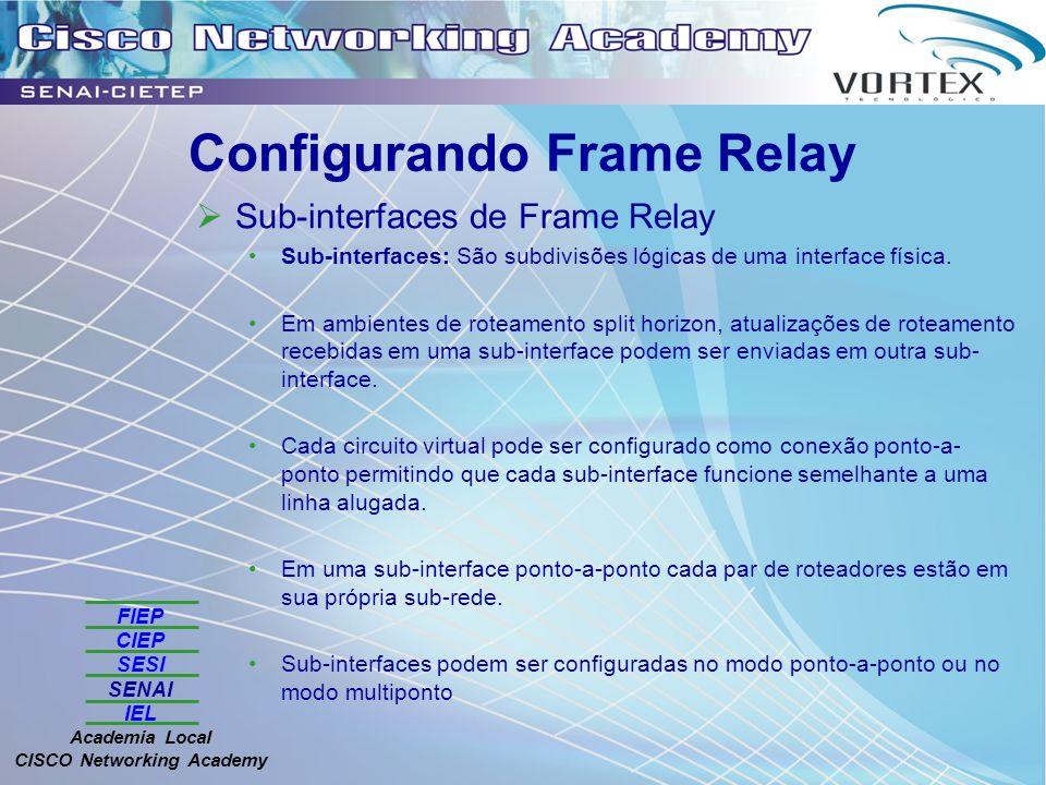 FIEP CIEP SESI SENAI IEL Academia Local CISCO Networking Academy Configurando Frame Relay Sub-interfaces de Frame Relay Sub-interfaces: São subdivisões lógicas de uma interface física.