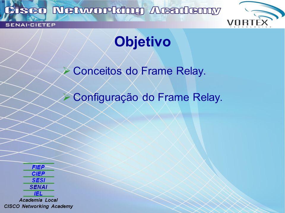 FIEP CIEP SESI SENAI IEL Academia Local CISCO Networking Academy Objetivo Conceitos do Frame Relay. Configuração do Frame Relay.