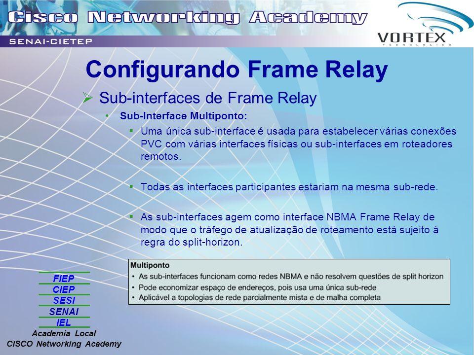 FIEP CIEP SESI SENAI IEL Academia Local CISCO Networking Academy Configurando Frame Relay Sub-interfaces de Frame Relay Sub-Interface Multiponto: Uma única sub-interface é usada para estabelecer várias conexões PVC com várias interfaces físicas ou sub-interfaces em roteadores remotos.