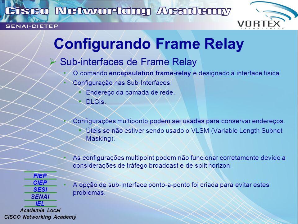 FIEP CIEP SESI SENAI IEL Academia Local CISCO Networking Academy Configurando Frame Relay Sub-interfaces de Frame Relay O comando encapsulation frame-relay é designado à interface física.