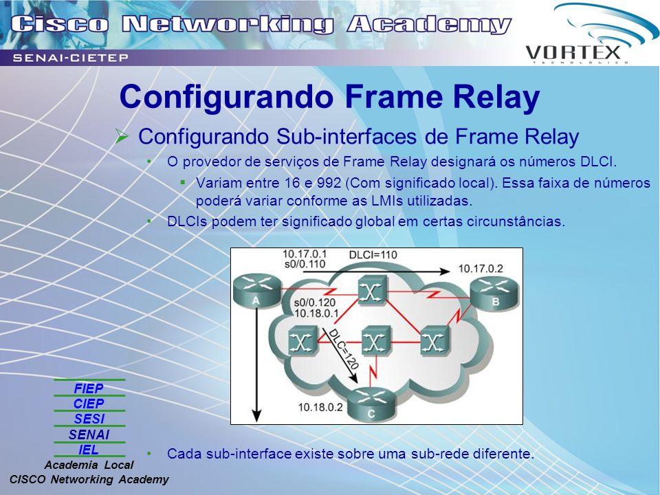 FIEP CIEP SESI SENAI IEL Academia Local CISCO Networking Academy Configurando Frame Relay Configurando Sub-interfaces de Frame Relay O provedor de serviços de Frame Relay designará os números DLCI.