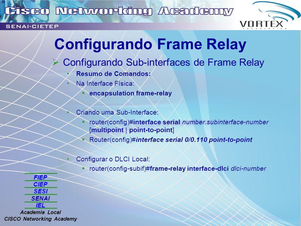 FIEP CIEP SESI SENAI IEL Academia Local CISCO Networking Academy Configurando Frame Relay Configurando Sub-interfaces de Frame Relay Resumo de Comandos: Na Interface Física: encapsulation frame-relay Criando uma Sub-Interface: router(config)#interface serial number.subinterface-number [multipoint | point-to-point] Router(config)#interface serial 0/0.110 point-to-point Configurar o DLCI Local: router(config-subif)#frame-relay interface-dlci dlci-number
