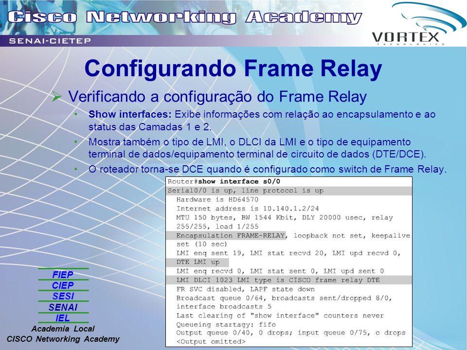 FIEP CIEP SESI SENAI IEL Academia Local CISCO Networking Academy Configurando Frame Relay Verificando a configuração do Frame Relay Show interfaces: Exibe informações com relação ao encapsulamento e ao status das Camadas 1 e 2.